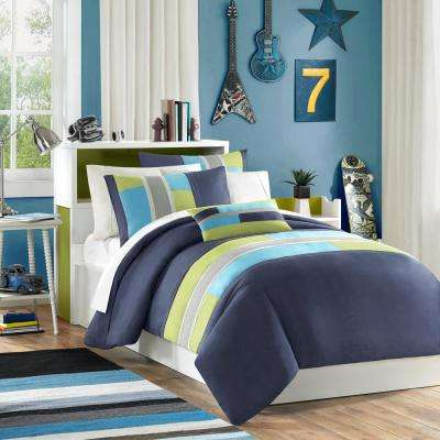 Switch 4-Piece Navy King/California King Pieced Duvet Cover Set