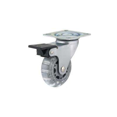 64 mm Gray/Clear Plate and Brake Caster