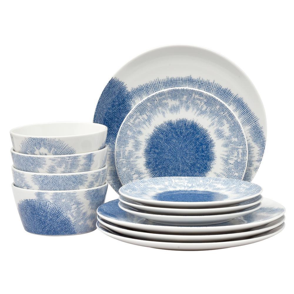 Aozora 12-Piece Casual blue Porcelain Dinnerware Set (Service for 4)