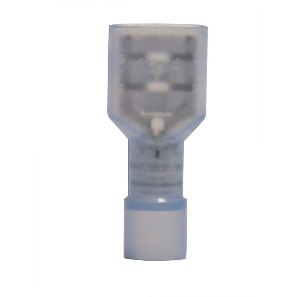 1/4 in. Fully Insulated Wire Disconnects, Blue (100-Pack)