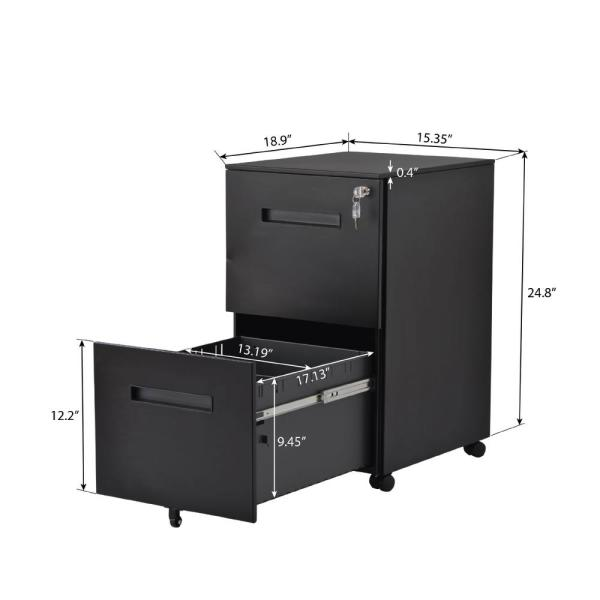 Merax Black 2 Drawers File Cabinet With