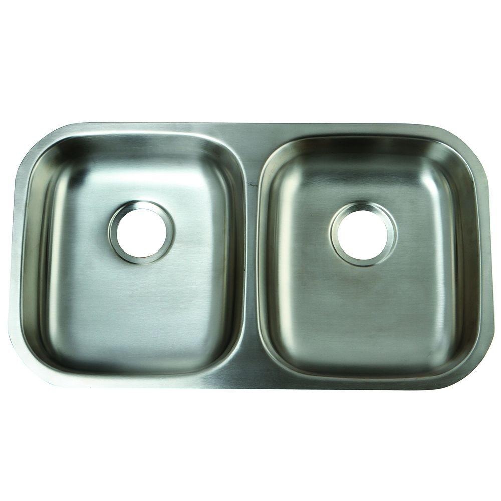Kingston Brass Undermount Stainless Steel 32 in. Double Bowl Kitchen ...
