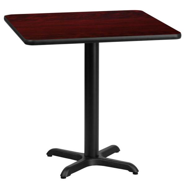 24 in. Square Black and Mahogany Laminate Table Top with 22 in. x 22 in. Table Height Base