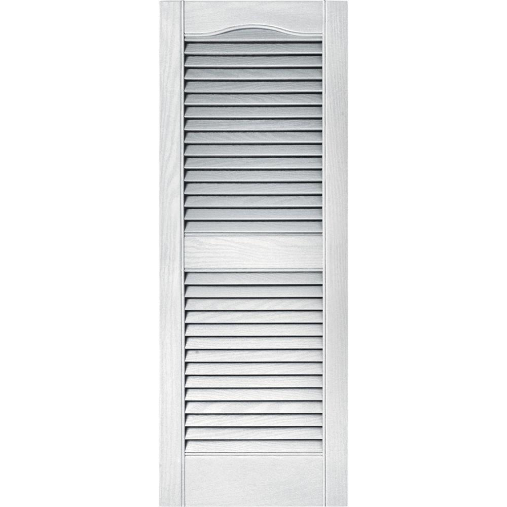 New exterior window shutters louvered vinyl white 15 x 39 - Exterior louvered window shutters ...