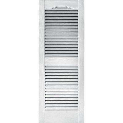 15 in. x 39 in. Louvered Vinyl Exterior Shutters Pair in #001 White