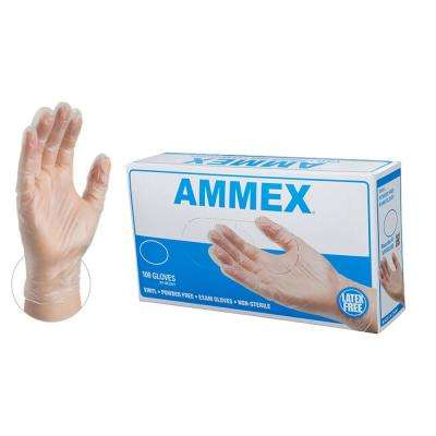 Large 4 mm Clear Vinyl Exam Powder Free Disposable Gloves (100-Box)