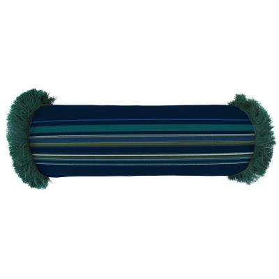 Sunbrella 7 in. x 20 in. Stanton Lagoon Bolster Outdoor Pillow with Forest Green Fringe