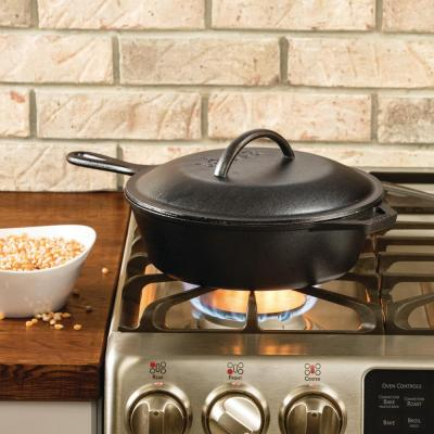 10.25 in. Cast Iron Deep Skillet in Black with Lid