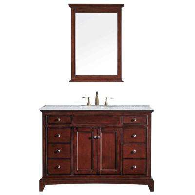 Elite Stamford 48 in. W x 23.5 in. D x 36 in. H Vanity in Brown (Teak) with Carrera Marble Top in White with White Basin