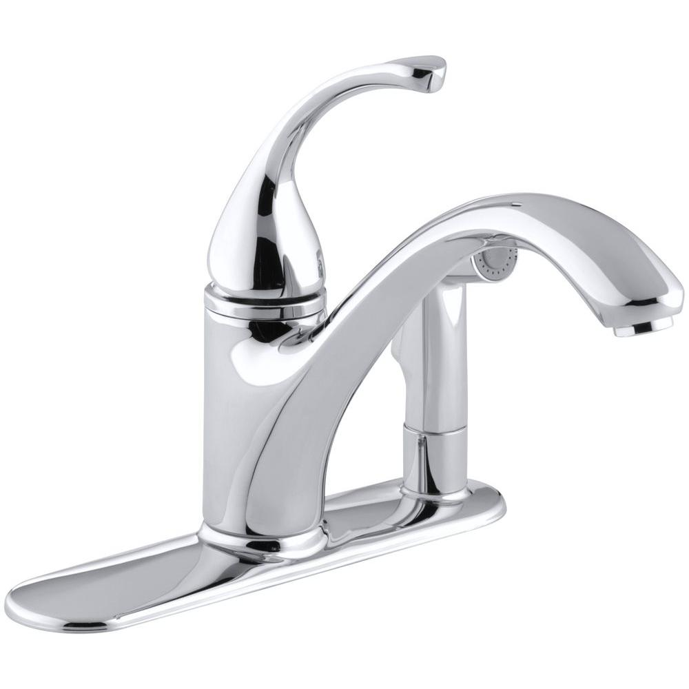 Beautiful KOHLER Forte Single Handle Standard Kitchen Faucet With Side Sprayer In  Brushed Chrome K 10413 G   The Home Depot