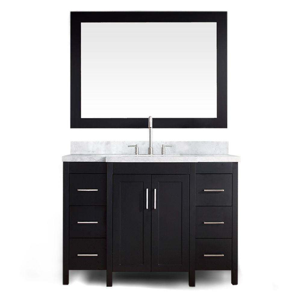 Ariel Hollandale 49 in. W x 21.5 in. D Vanity in Black with Marble Vanity Top in Carrara White with Basin and Mirror
