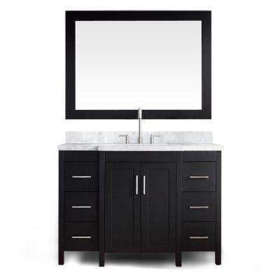 Hollandale 49 in. W x 21.5 in. D Vanity in Black with Marble Vanity Top in Carrara White with Basin and Mirror