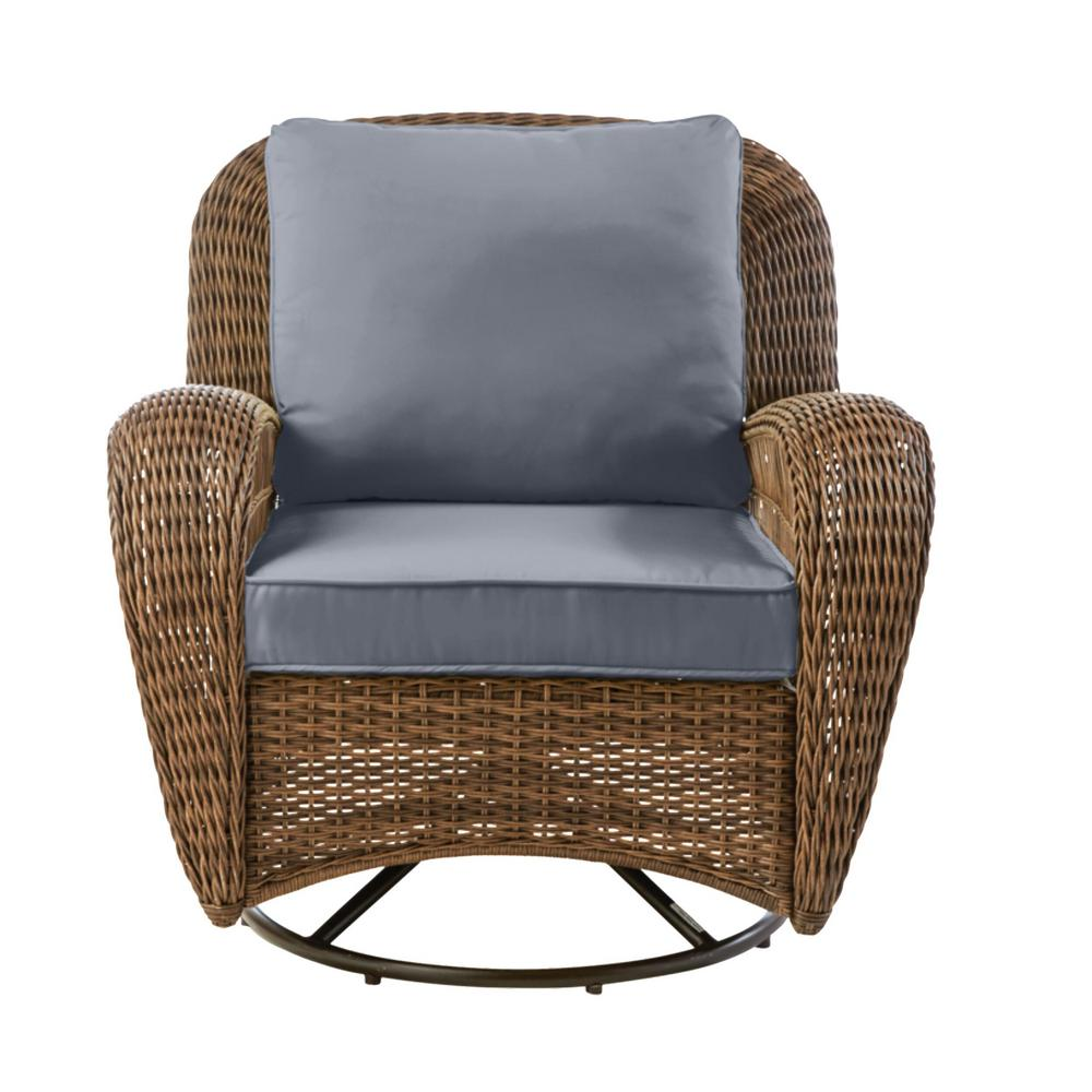 Hampton Bay Beacon Park Brown Wicker Outdoor Patio Swivel Lounge Chair with CushionGuard Steel Blue Cushions was $349.0 now $272.22 (22.0% off)