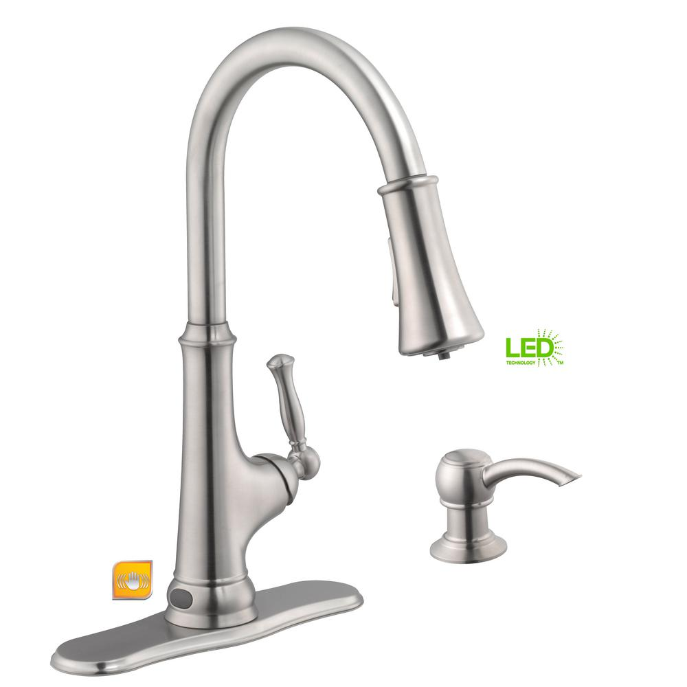 Glacier Bay Touchless LED Single-Handle Pull-Down Sprayer Kitchen Faucet with Soap Dispenser in Stainless Steel