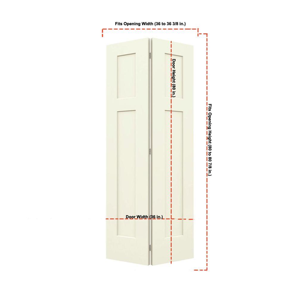 36 in. x 80 in. Craftsman Vanilla Painted Smooth Molded Composite MDF Closet Bi-fold Door