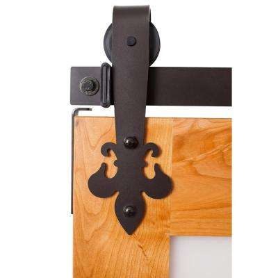 Fluer De Lis 6 ft. Track in Dark Bronze Barn Door Hardware