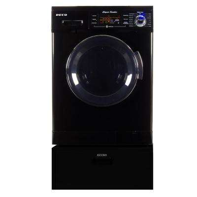All-in-one 1.6 cu. ft. Black Compact Washer Dryer Combo with Optional Condensing/Venting, Sensor Dry with Pedestal