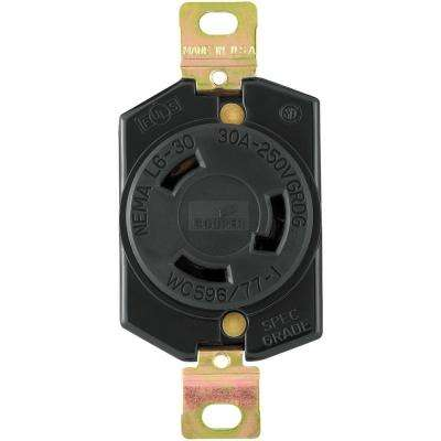 30 Amp 250-Volt Hart-Lock Industrial Grade Receptacle, Black and White