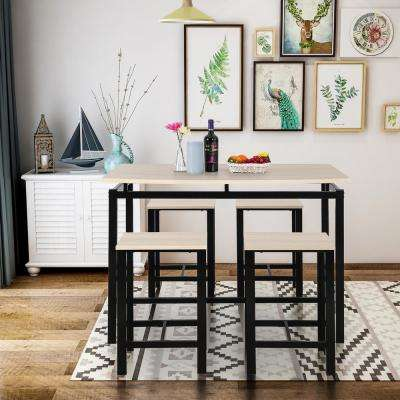 Beige 5-Piece Dining Set Wood and Metal Pub Table with 4-Bar Stools