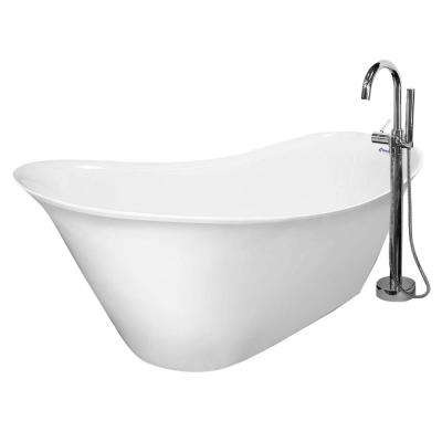 56 in. AcraStone Acrylic Slipper Flatbottom Non-Whirlpool Bathtub in White w/ Floor Mount Faucet Package in Satin Nickel