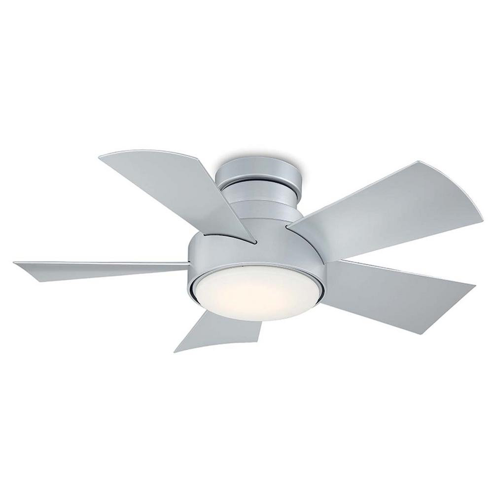 Modern Forms Vox 38 in. LED Indoor/Outdoor Titanium Silver 5-Blade Smart Flush Mount Ceiling Fan w/ 3000K Light Kit and Wall Control
