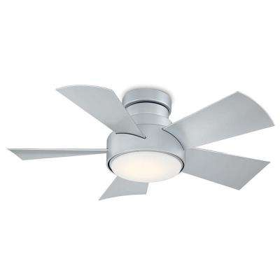 Vox 38 in. LED Indoor/Outdoor Titanium Silver 5-Blade Smart Flush Mount Ceiling Fan w/ 3000K Light Kit and Wall Control