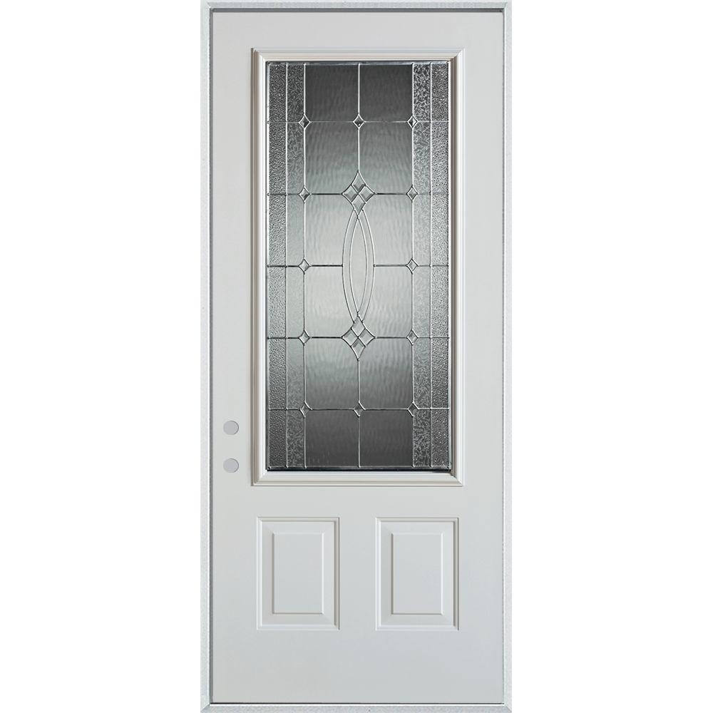 32 in. x 80 in. Diamanti Zinc 3/4 Lite 2-Panel Painted