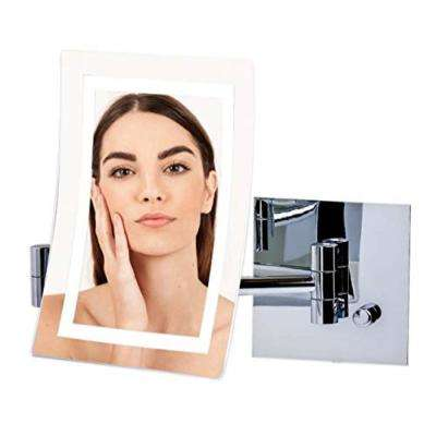 Wall Mount Mirror With Diffused LED Ring Light, 1x7x Magnification, Polished Chrome, 1x 7x Magnification
