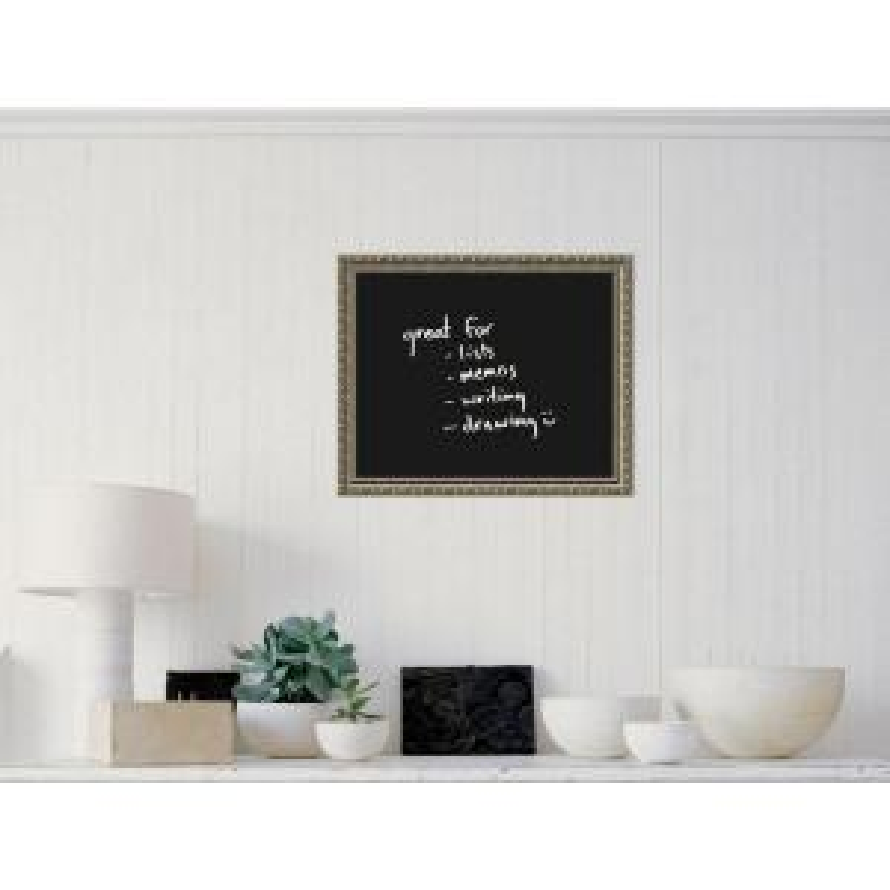 Amanti Art Black 23 inch W x 19 inch H Framed Glass Dry Erase Board by Amanti Art