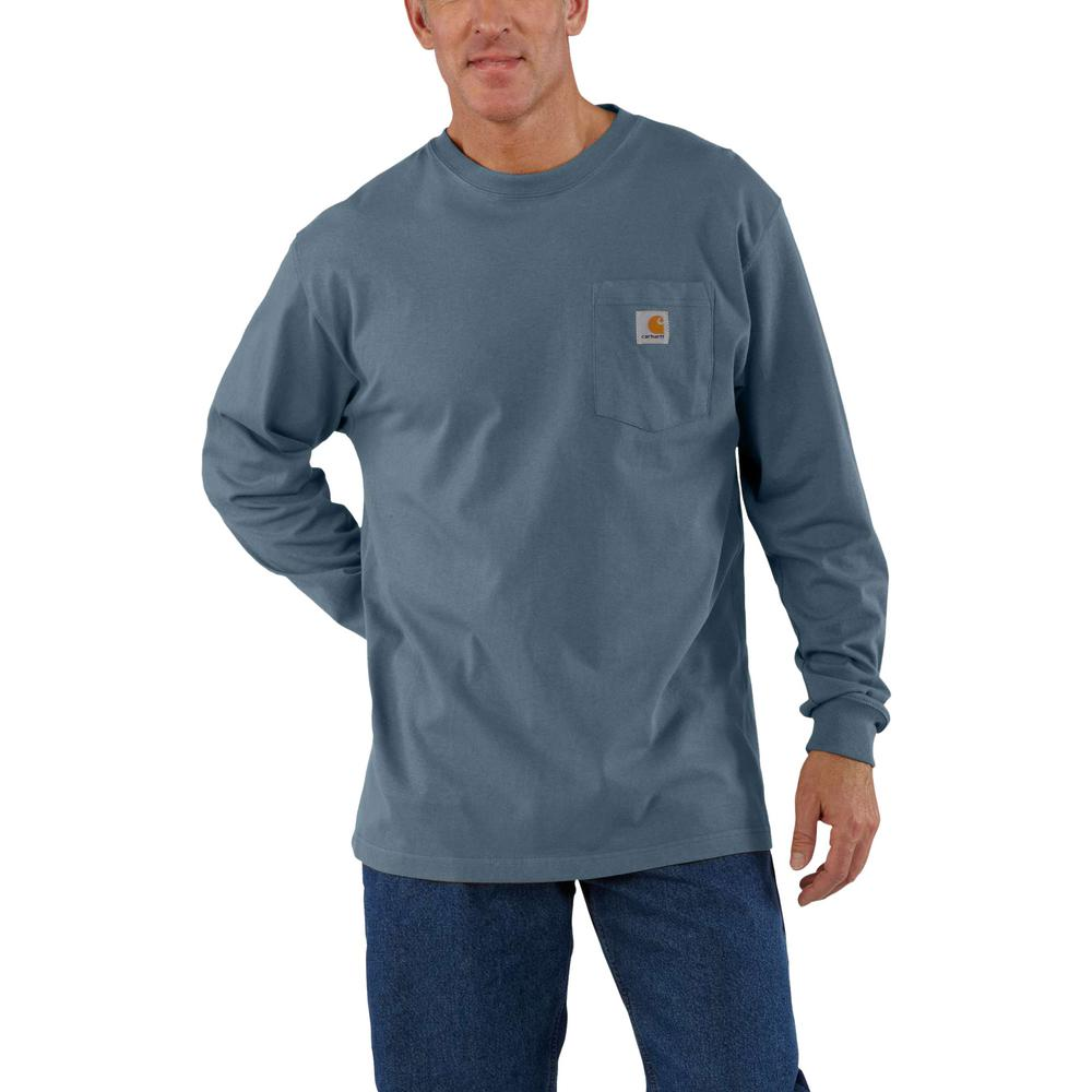 bd6a26f8f Carhartt Men's 3 XLT Steel Blue Cotton Workwear Pocket LS T-Shirt ...
