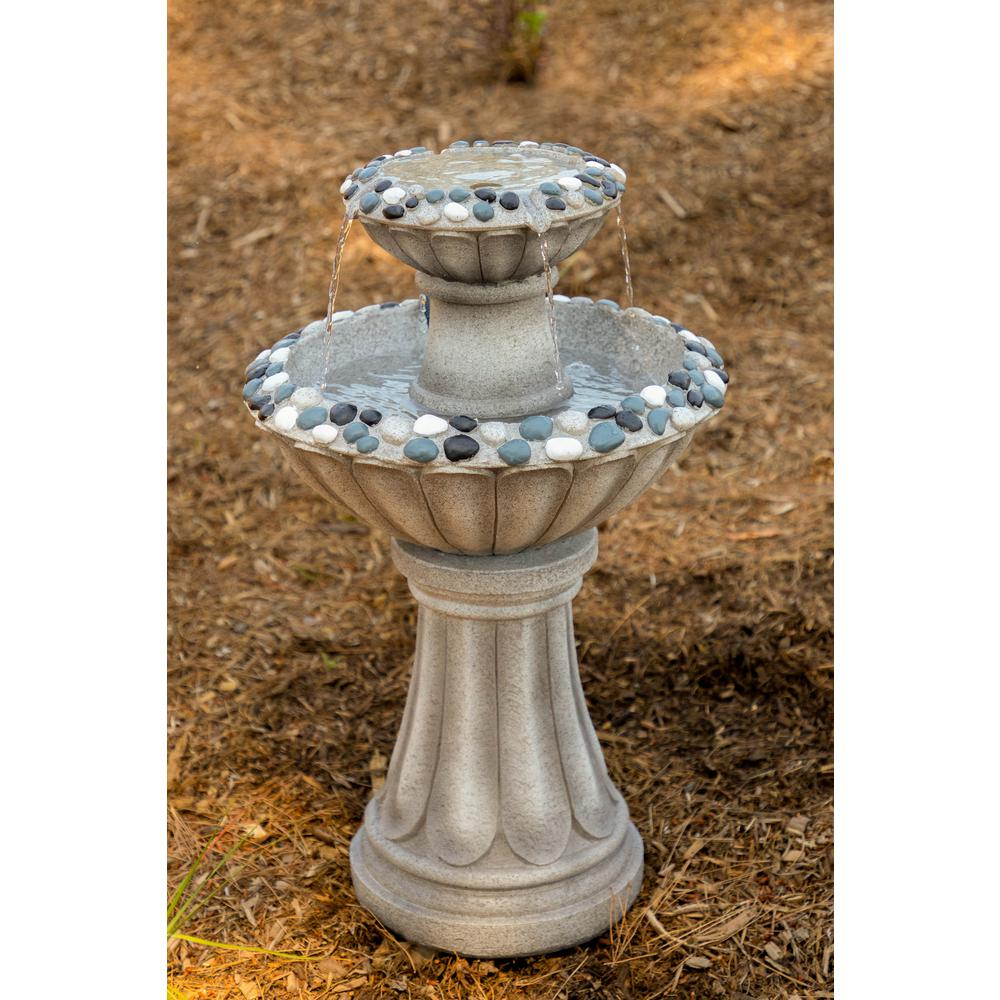 Alpine Corporation 36 In Tall Grey 2 Tier Pedestal Fountain