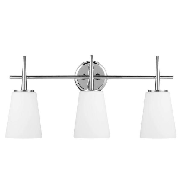 Driscoll 3-Light Chrome Wall/Bath Vanity Light with Inside White Painted Etched Glass