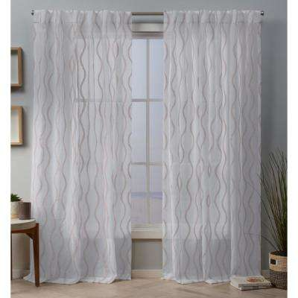 Belfast 54 in. W x 96 in. L Sheer Hidden Tab Top Curtain Panel in Blush (2 Panels)