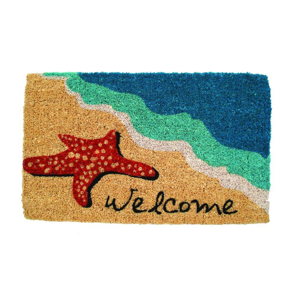Entryways starfish welcome 18 in x 30 in hand woven coir door mat 931 s the home depot - Front door mats as a guest greeting tool ...