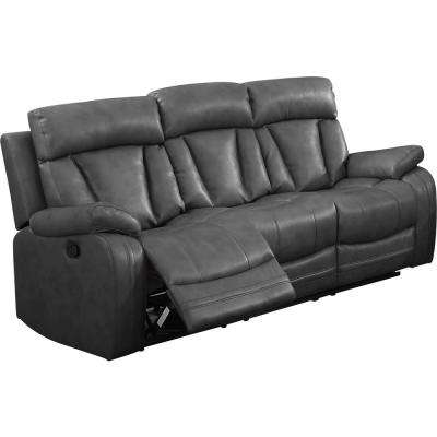 Gray Bonded Leather Motion Sofa (2 Reclining Seats)