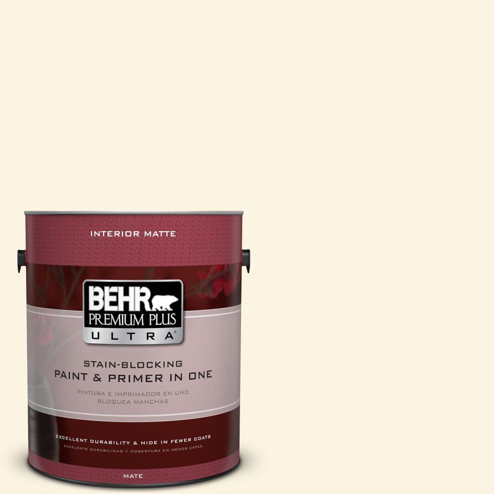 BEHR Premium Plus Ultra 1 gal. #350A-1 Ruffled Clam Flat/Matte Interior Paint