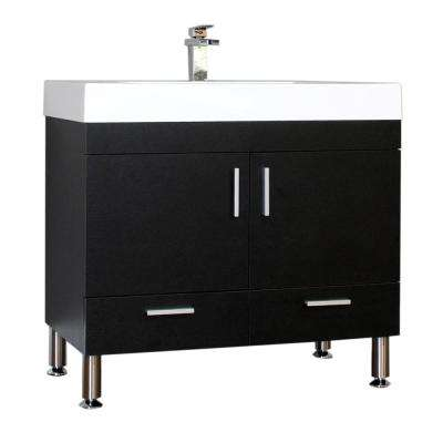 Ripley 35.37 in. W x 18.75 in. D x 33.38 in. H Vanity in Black with Acrylic Vanity Top in White with White Basin