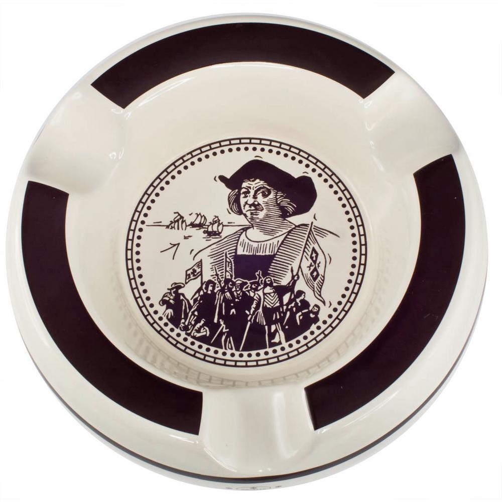 Columbus White and Brown Three Lip Ceramic Patio Cigar Ashtray