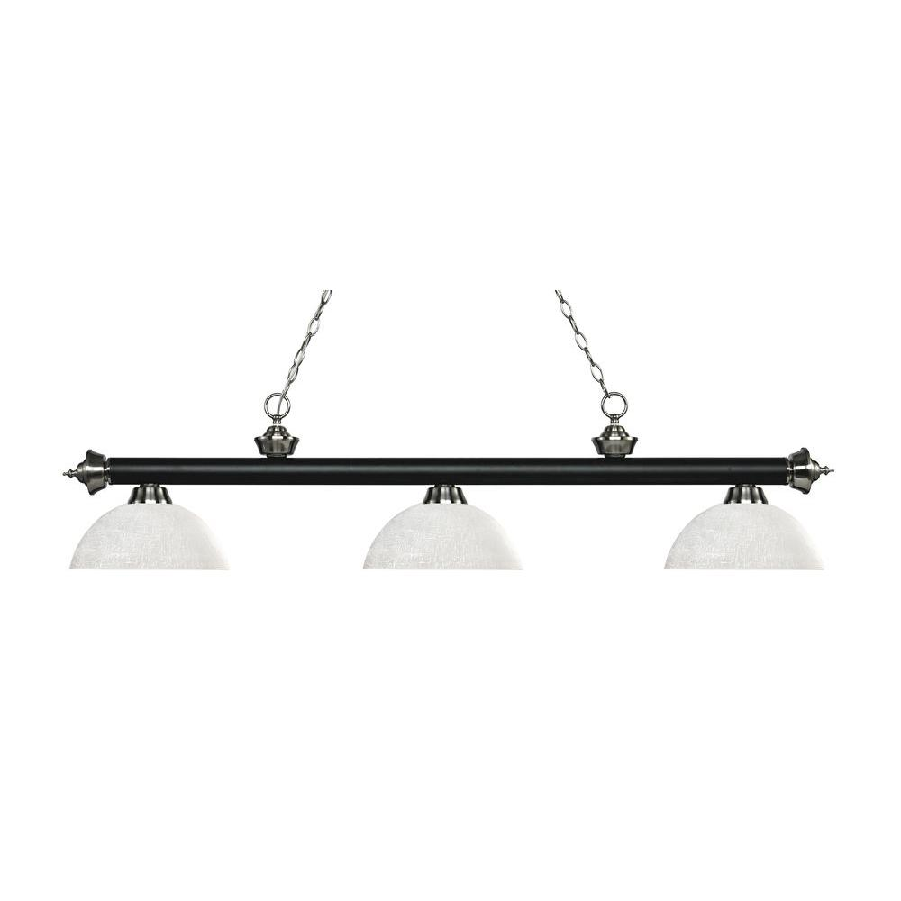 Josse 3-Light Matte Black and Brushed Nickel Island Light with White