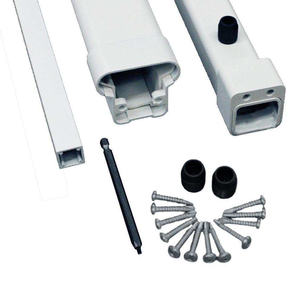 Pro 8 ft. White Aluminum Top and Bottom Rail Kit