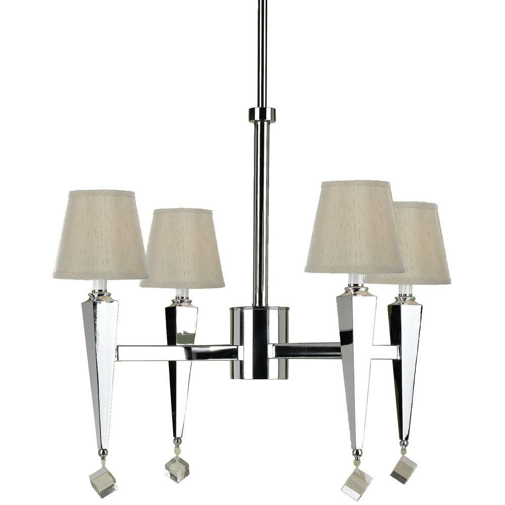 6680 4 Light Chrome Chandelier With Cream Shades