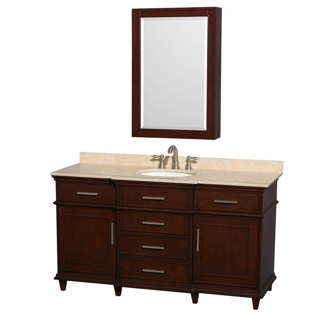 Berkeley 60 in. Vanity in Dark Chestnut with Marble Vanity Top in Ivory, Undermount Round Sink and Medicine Cabinet