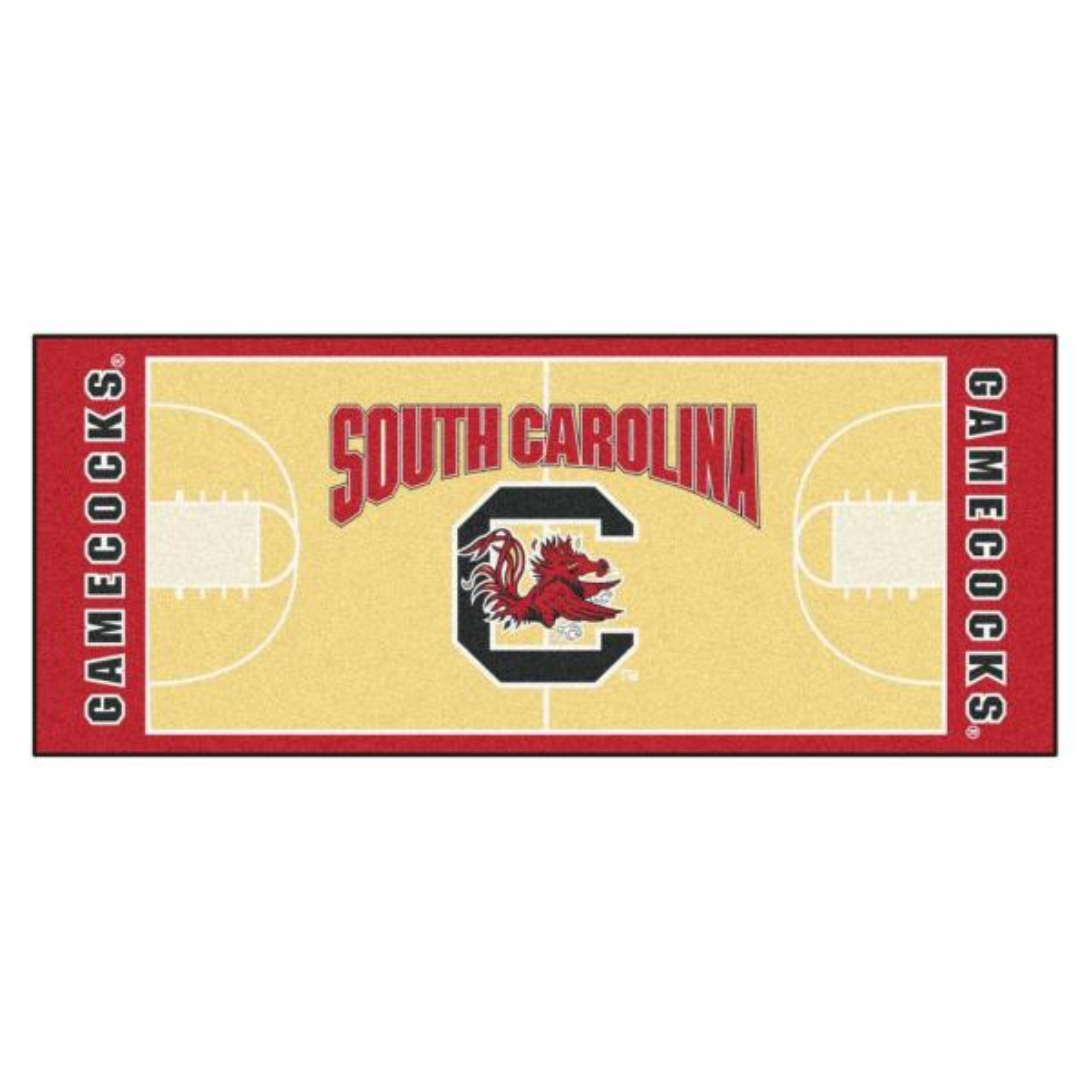 NCAA University of South Carolina Cream 3 ft. x 6 ft. Basketball Runner Rug