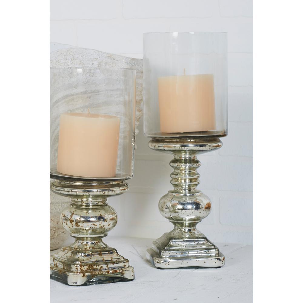 Litton Lane Silver Gl Hurricane Pedestal Candle Holder