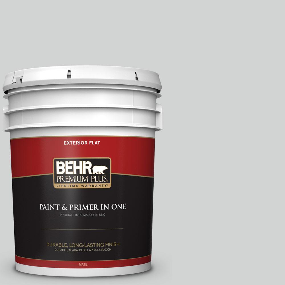 Behr Premium Plus 5 Gal Ppu26 11 Platinum Flat Exterior Paint 405005 The Home Depot
