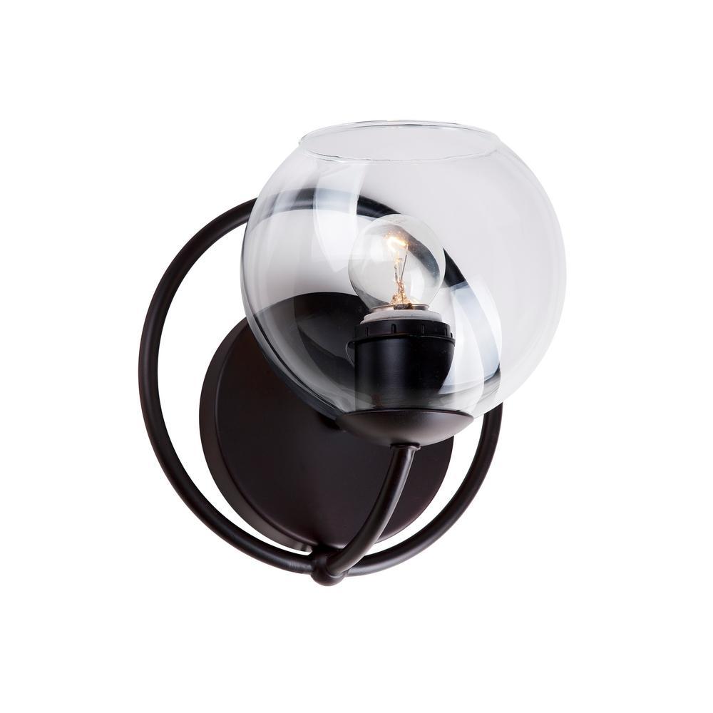 Antique Bronze 5700-01-32 Forte Lighting 1 Light Wall Bracket White Glass
