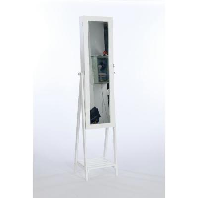 Jewelry Cabinet with Frame Mirror,Angle Adjustable Standing Jewelry Makeup Cabinets,Large Storage Box Cabinets,White