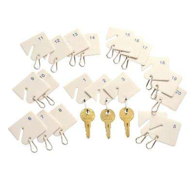 Numbered Slotted Rack Key Tags (20-Pack)