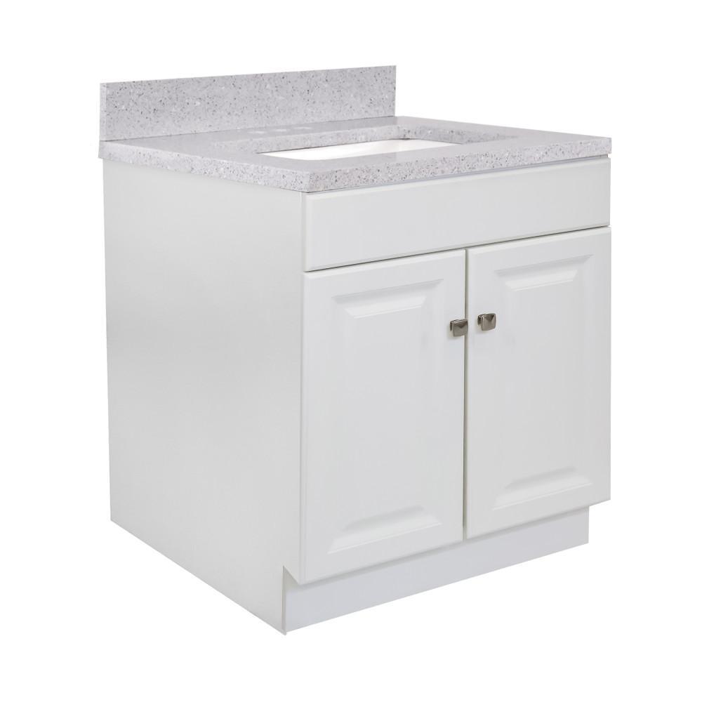 30 in. x 21 in. x 31.5 in. 2-Door Bath Vanity in White w/ 4 in. Centerset Flint Quartz Vanity Top w/ Basin in White