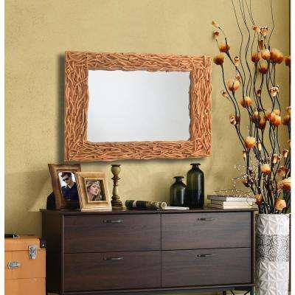 Thistle Rectangular Tree Branch Decorative Wall Mirror